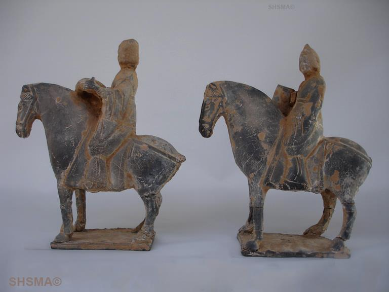 pair of pottery horsemen, Northern Wei dynasty, 386 to 534 A.D.