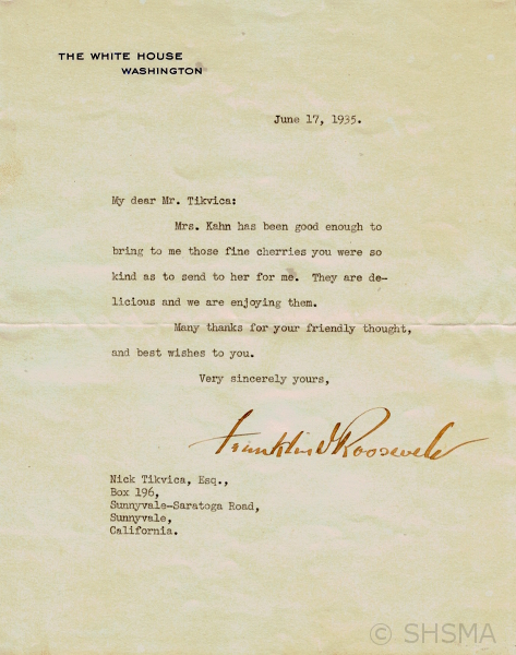 FDR letter to Nick Tikvica