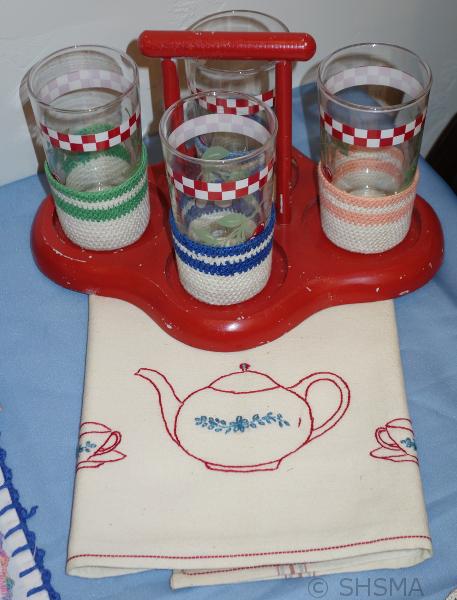 homemade tea towel and tumbler covers