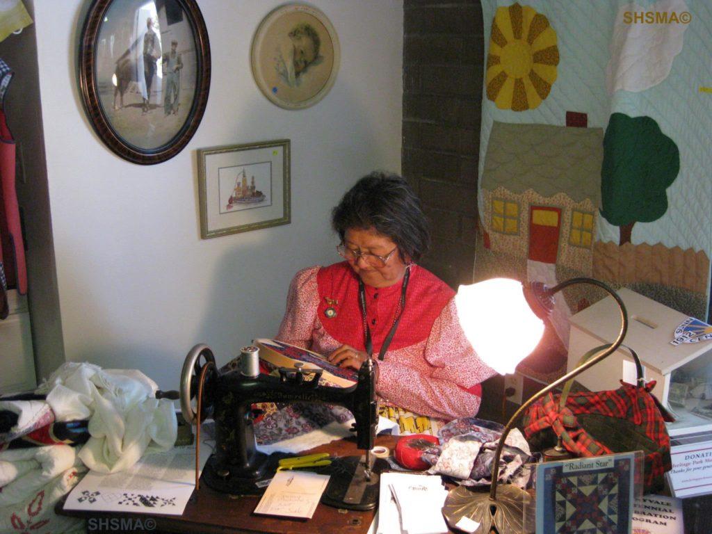 Chiyo Winters demonstrating sewing