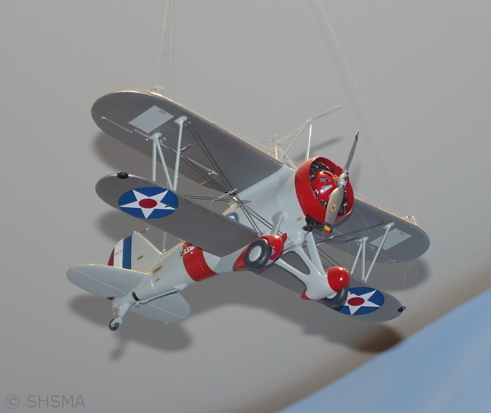 Model of Sparrowhawk biplane carried by USS Macon, based at Moffett Field in 1935