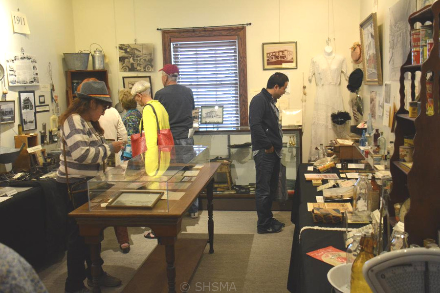 Visitors viewing special exhibit on historic downtown Sunnyvale