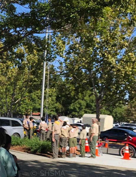 Sunnyvale Boy Scout Troop 466 raising our flag