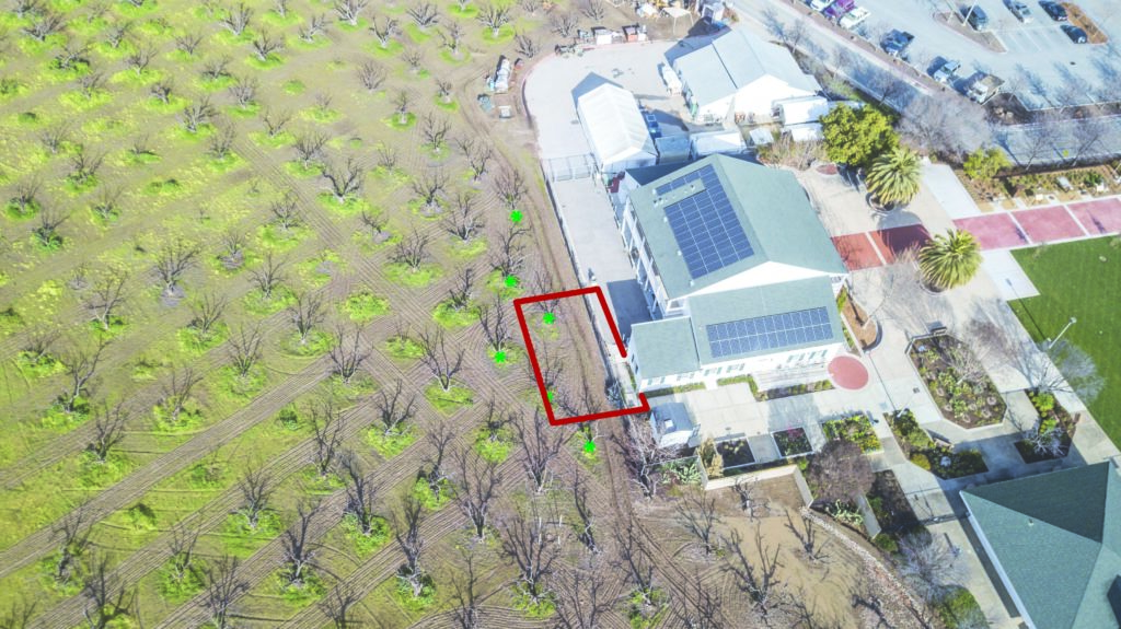 Arial photo of the museum and orchard.