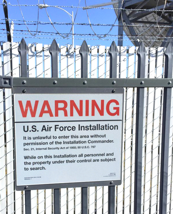 A sign: Warning - US Air Force Installation