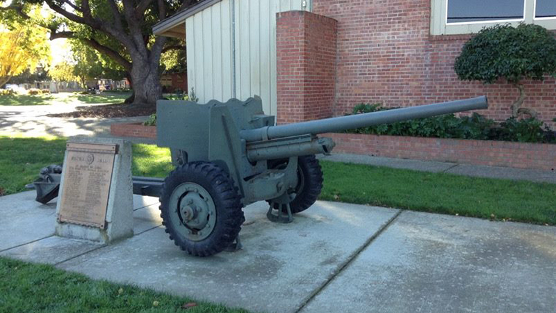 A WWII cannon sits at the corner of Washington Park in Sunnyvale